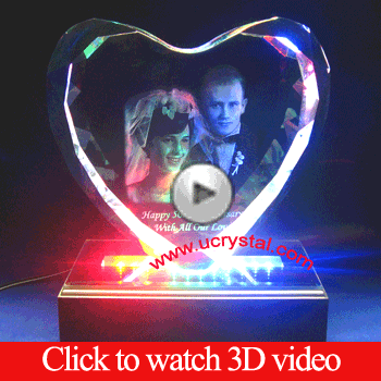 3D photo crystal heart extra large, wedding anniversary video