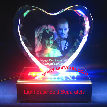 3d photo crystal heart wedding anniversary gift, extra large