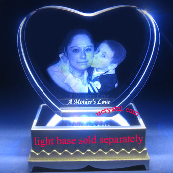 custom engraved 3D photo crystal heart wedding anniversary gifts