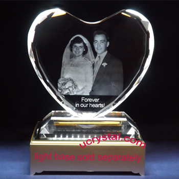 wedding anniversary 3d photo crystal heart XL