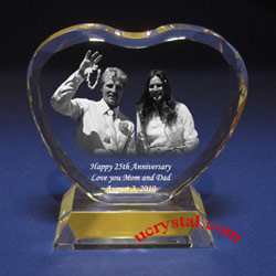 personalized photo crystal anniversary heart