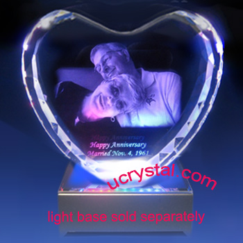 Laser etched 3D photo crystal heart wedding anniversary gift XL