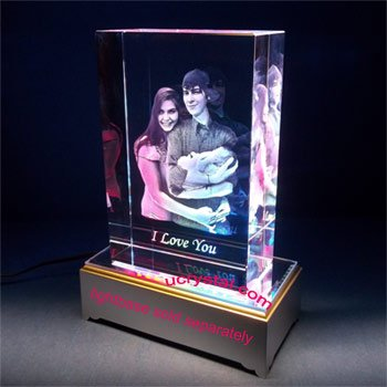 3D block laser engraved photo crystal - XL