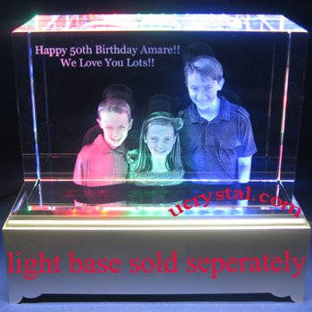 laser engraved 3D block photo crystal, large