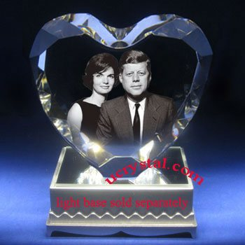 laser etched 3D photo heart crystal for wedding anniversary