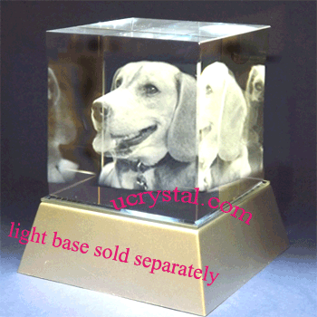 3D laser etched photo crystal cube, large