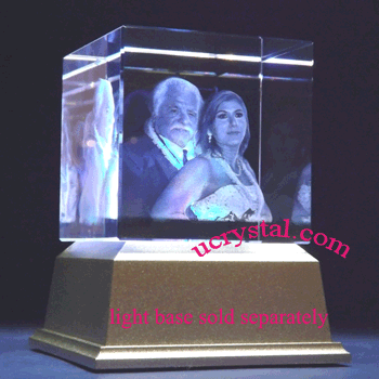 3d laser etched photo crystal cube