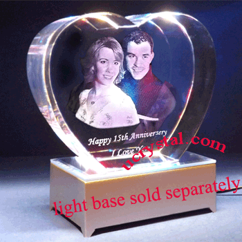 3D photo crystal heart for wedding anniversary XL