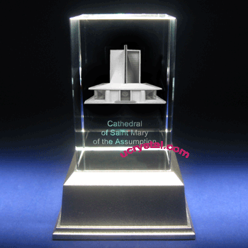 3D laser crystal award, rectangular prism