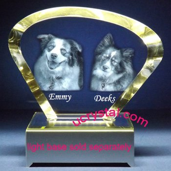 Clam-shape laser photo crystal engraving - XL