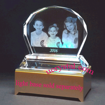 Clamshell custom laser photo crystal with base