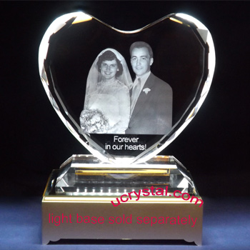 Facet 3d laser photo crystal heart w/ base wedding anniversary gift XL