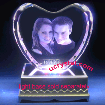 Facet heart 3d photo crystal wedding anniversary gift