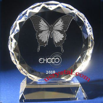 Facet round (DFB) custom laser photo crystal with base