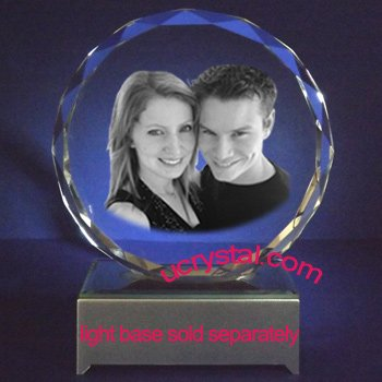 laser engraved facet round photo crystal - XL