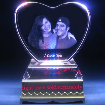 laser etched heart photo crystal with base