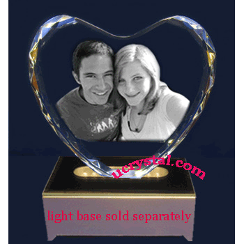 Heart shaped 3D photo crystal - XL