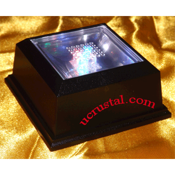 LED light base for crystal - 4 LED, multi-color square
