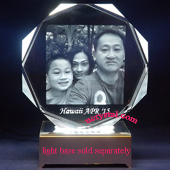 laser etched octagonal photo crystal - XL