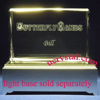 3d crystal plaque engraved - rectangular