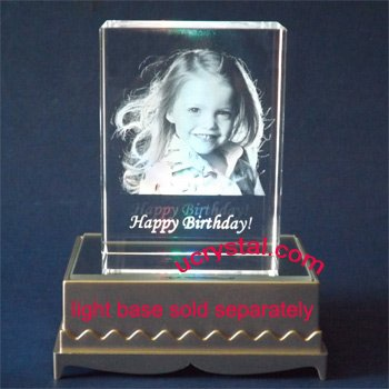 Laser etched rectangular 3D photo crystal