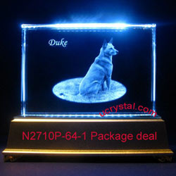 personalized photo crystal etching, rectangular photo crystal - package deal