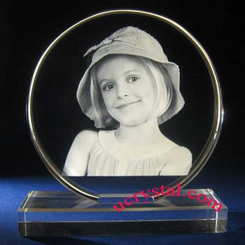 laser etched custom round photo crystal with base - XL