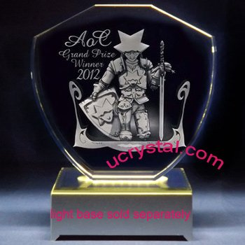 Shield laser photo crystal engraving - XL