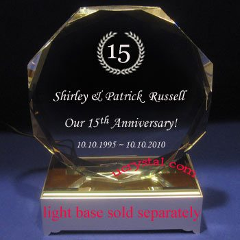 Elite octagon personalized crystal plaques awards - extra large