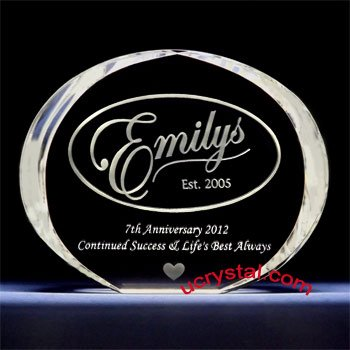 Elliptical extra large corporate employee recognition crystal awards