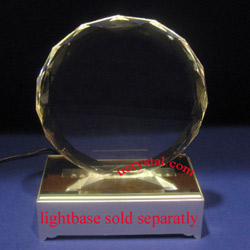Faceted Round custom engraved crystal award, without base
