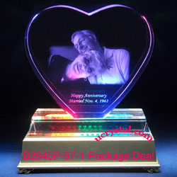 Heart photo crystal w/o base - XL + 12 LED lightbase package deal