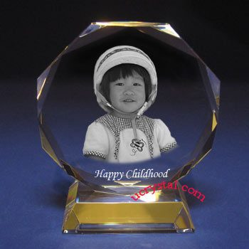 custom engraved octagonal photo crystal with base