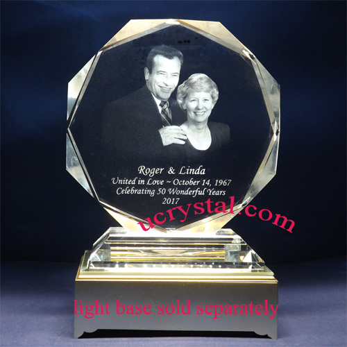 Octagonal laser engraved photo crystal with base - XL