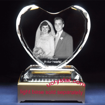 3d photo crystal heart XL