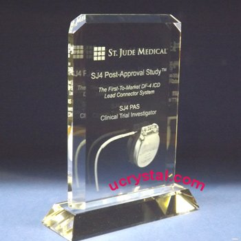 Rectangular cornercut custom crystal plaques engraved
