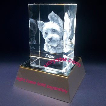 3D laser etched photo crystal cube, rectangular prism, large