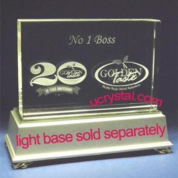 Rectangular custom engraved crystal award - XL