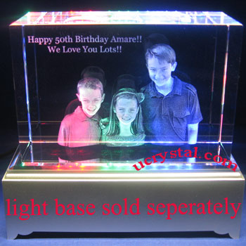 laser etched 3D photo crystal, 3D crystal block 1