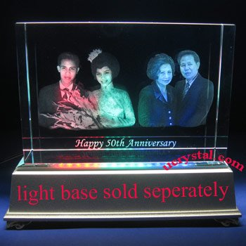 laser etched 3D photo crystal, 3D crystal block  XL 1