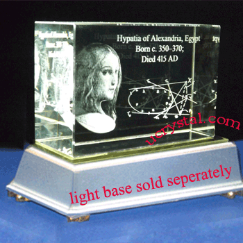laser etched 3D crystal awards block extra large 1