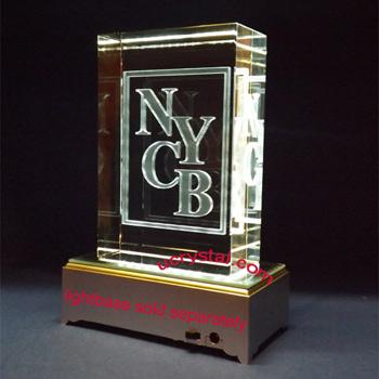 Custom Engraved 3d Laser Etched Crystal Award 3d Block