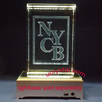 laser etched 3D crystal awards block extra large 5
