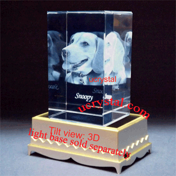 3d photo crystal cube, rectangular 3