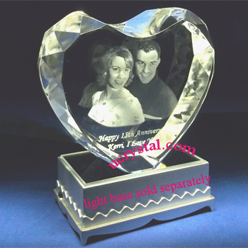 3D laser photo heart crystal wedding anniversary 2