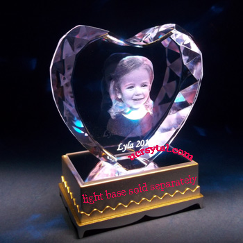 3D laser photo heart crystal wedding anniversary 3