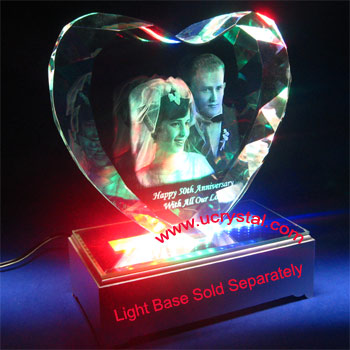3D laser photo crystal  heart  extra large 2