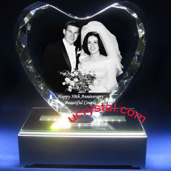 3D photo crystal  heart  wedding gifts XL 3