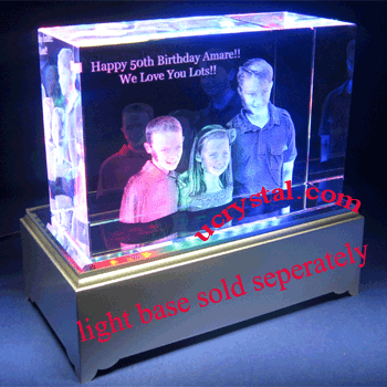 3D photo crystal cube, 3D crystal block 3