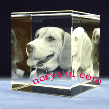 3d laser etched photo crystal cube large 4